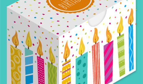 Birthday cut-out gift box with candle design