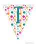 Bright polka dot flags with teal lettering