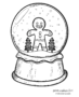 Christmas snow globe with gingerbread man