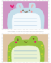Cute printable animal notecards for kids: Rabbit & frog