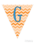 Orange zig-zag party flag set with blue letters