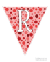 Red polka dot flags with white letters