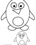 Big & little cute cartoon penguins
