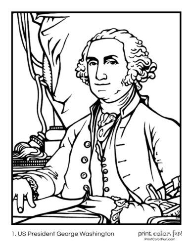 01. US Presidents coloring pages: George Washington