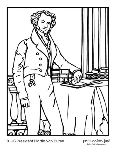 08. US Presidents coloring pages Martin Van Buren
