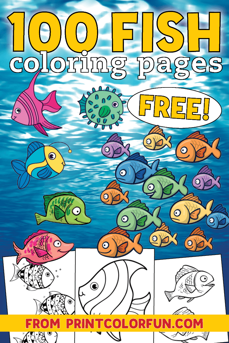 100 fish coloring pages - Free