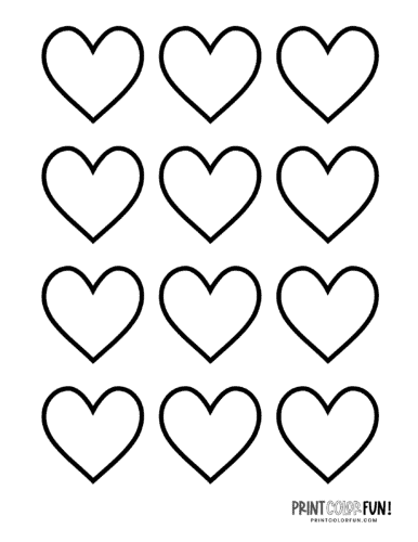 12 blank heart shapes to color