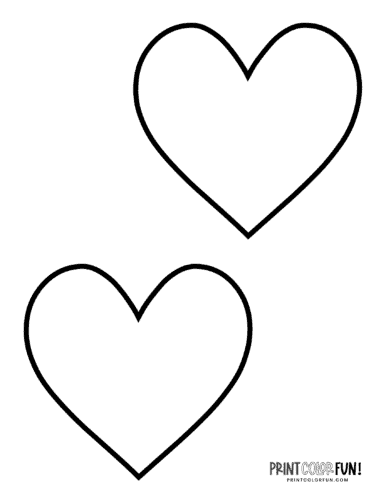 2 Blank heart shape coloring page