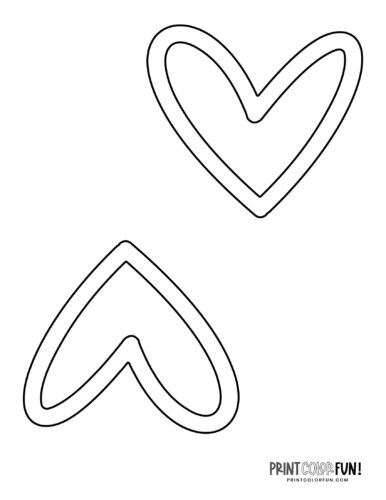 2 blank outlined heart shapes