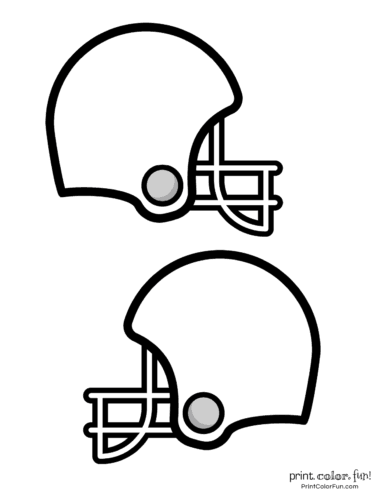 2 medium size printable football helmets to color