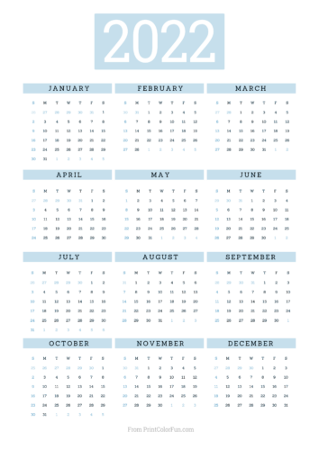 2022 printable calendar - Blue