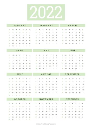 2022 printable calendar - Green