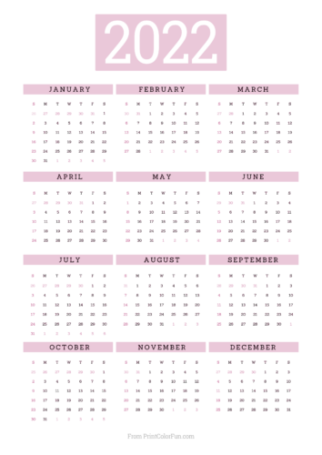 2022 printable calendar - Pink