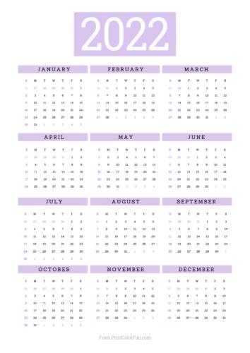 2022 printable calendar - Purple