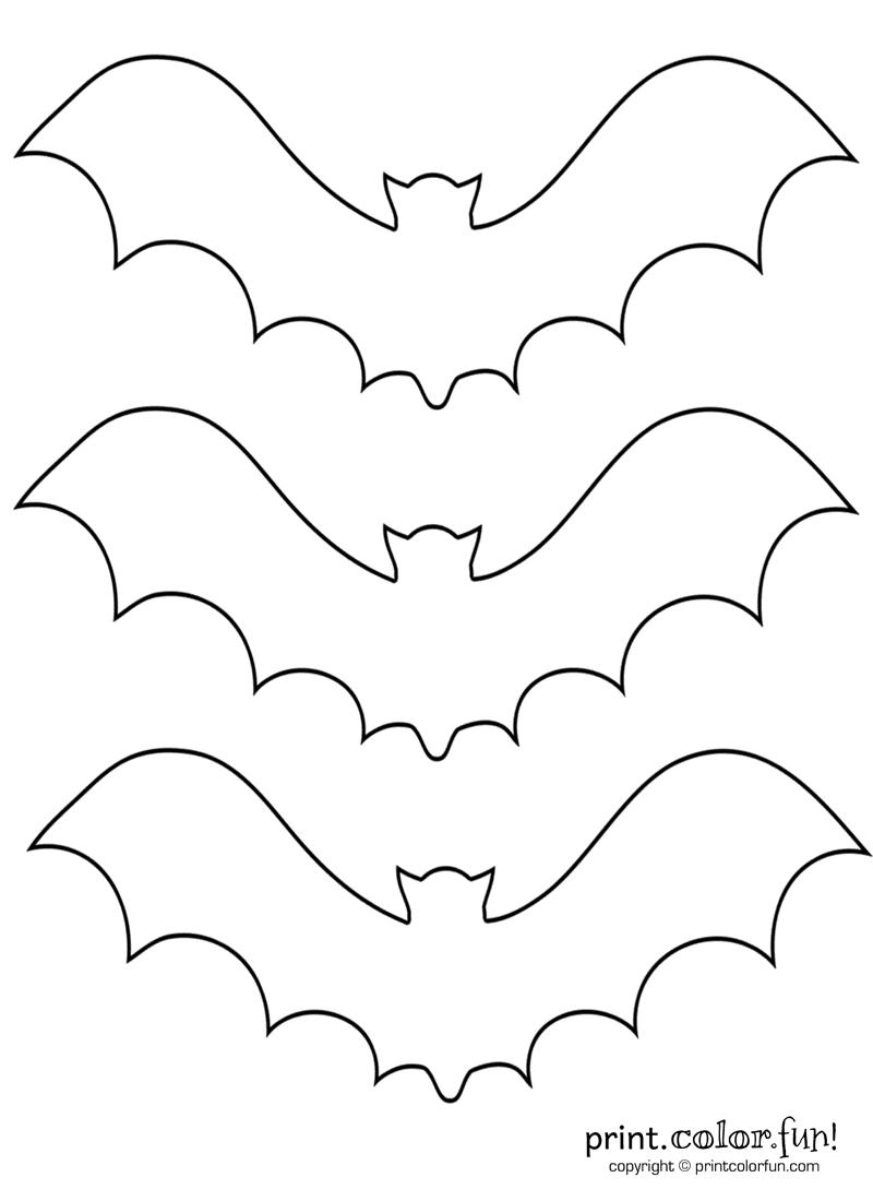 3 bat stencils coloring page