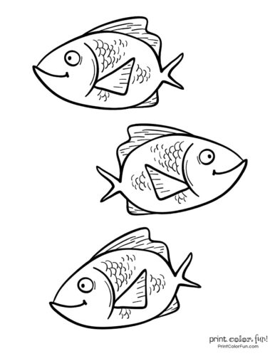 3 cute fish coloring printable from PrintColorFun com (1)