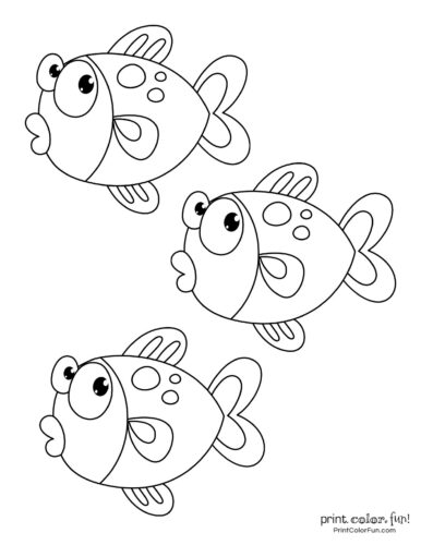 Loving And Kissing Fish Coloring Pages - Download & Print Online ... | 500x386