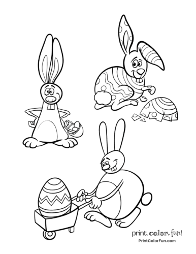 3 silly Easter bunnies to color coloring page - Print. Color. Fun!