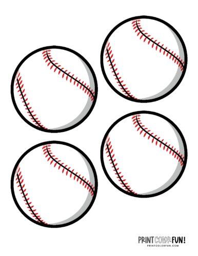 4 baseballs printable page