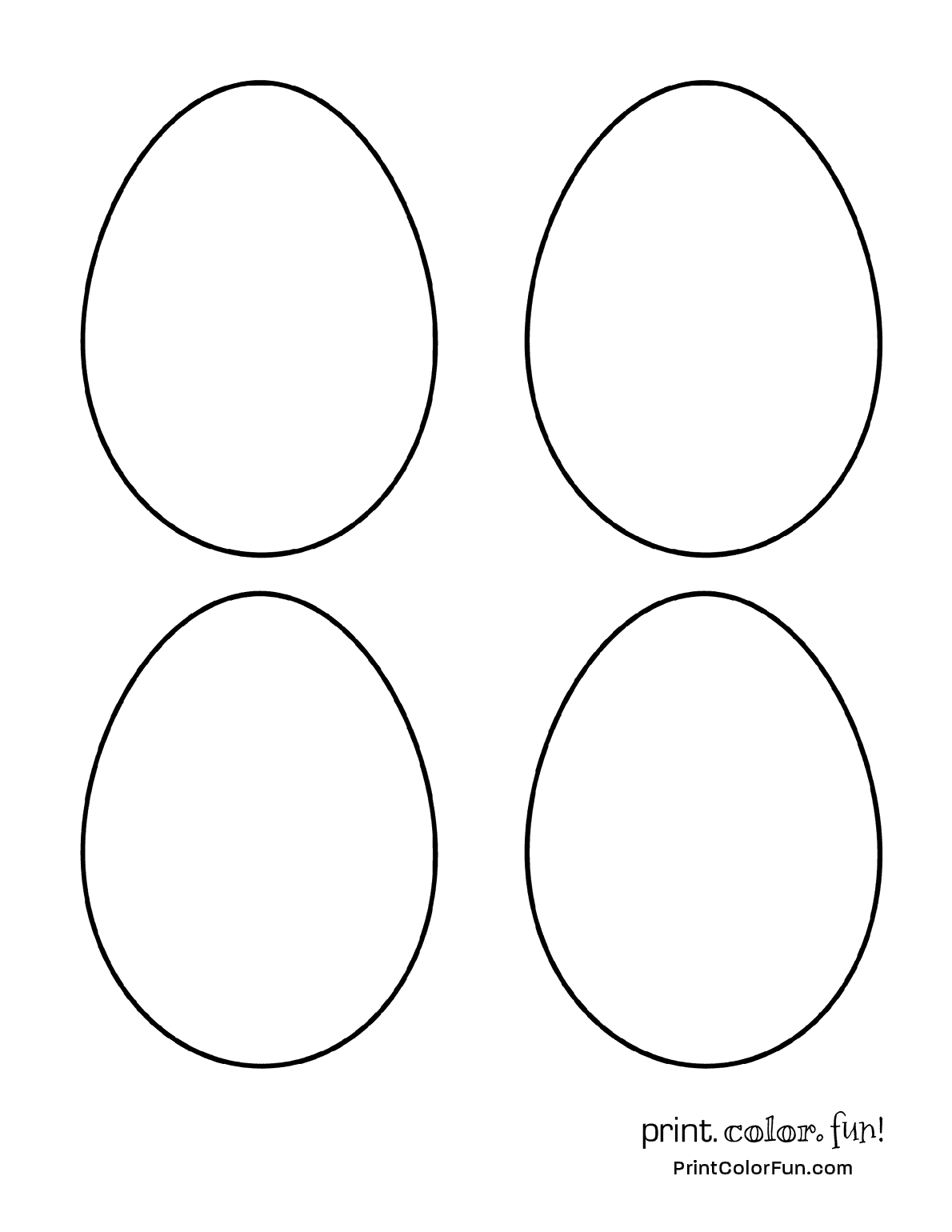 4 blank egg shapes to color for Easter coloring page - Print. Color ...