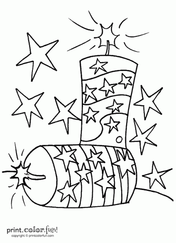 of july firecrackers are all set to print and color
