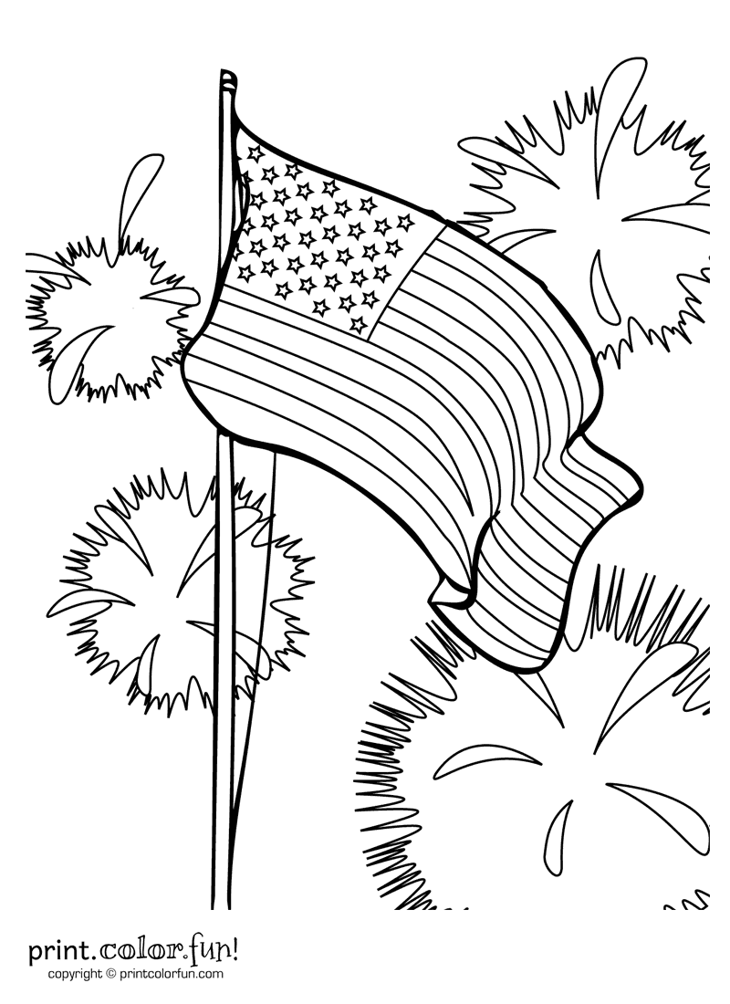 Fourth of July fireworks coloring page Print Color Fun