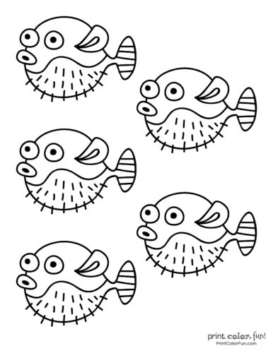 5 fishes free coloring page from PrintColorFun com (1)