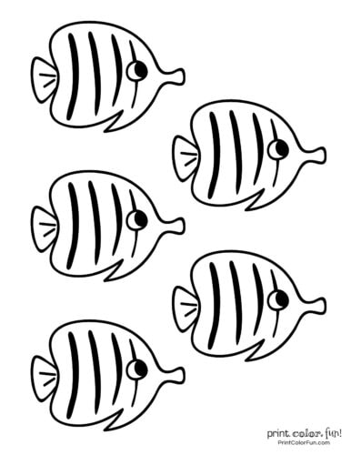 5 fishes free coloring page from PrintColorFun com (2)