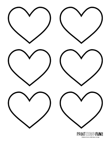 6 Blank heart shape coloring pages
