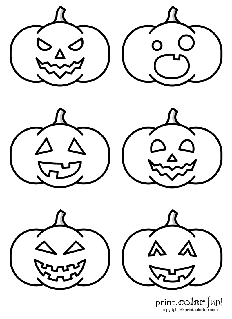 6 silly jack o'lantern faces