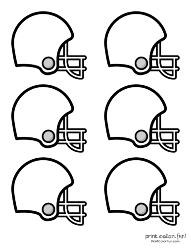 6 small printable football helmets for cake toppers or decorations