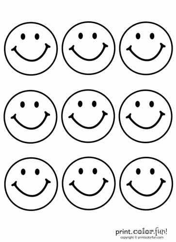 9 Happy Faces Coloring Page