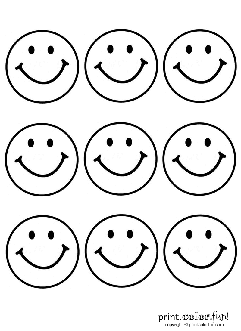 9 happy faces coloring page print color fun - Pictures To Print And Color