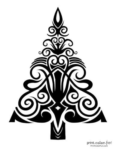 Abstract Christmas tree printable decoration (8)