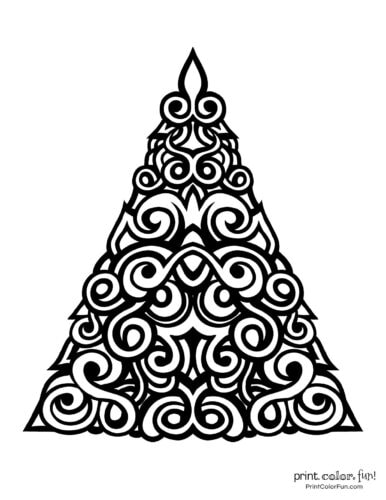 Abstract Christmas tree printable decoration with thick lines