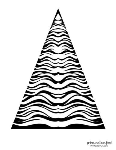 Abstract Christmas tree printable with tiger stripes