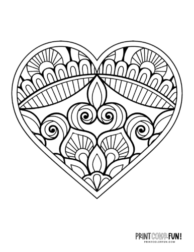 Abstract doodle design heart coloring page
