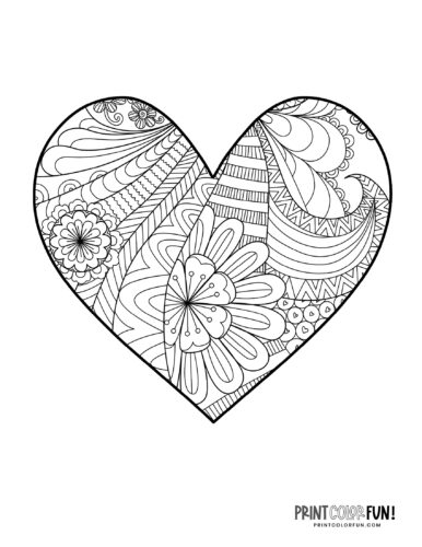 Abstract floral zen doodle heart coloring page