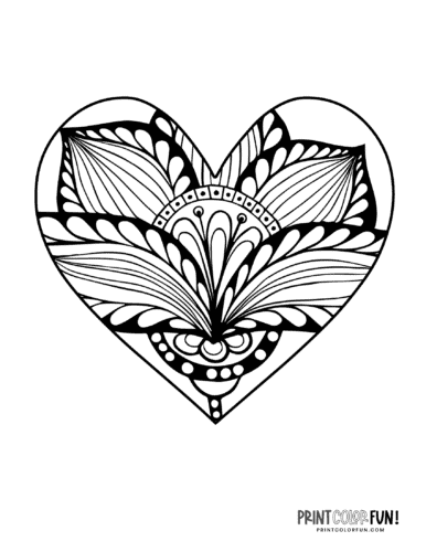 Abstract flower design inside heart shape coloring page