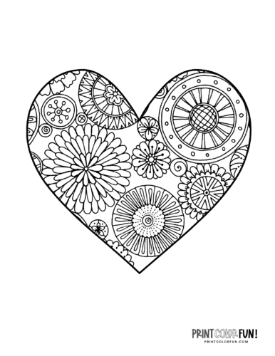 Abstract flower pattern heart coloring page