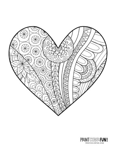 Abstract tangle heart coloring page