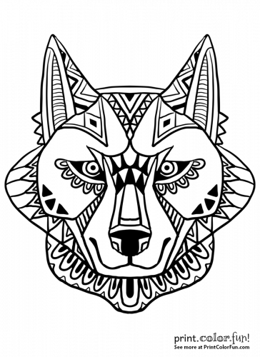 Abstract wolf face design