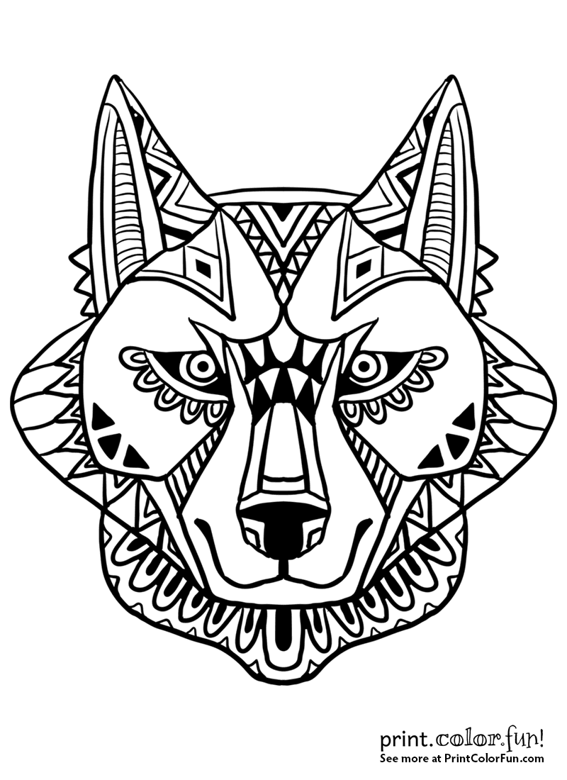 Abstract wolf face design coloring page print color fun for Wolf face coloring pages