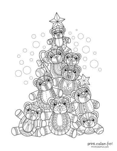 Adorable fancy Christmas tree made of patterned teddy bears
