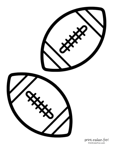 American footballs to color - Sports printables (2)
