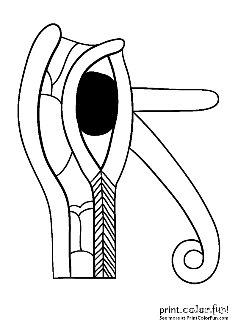 ancient egyptian eye of horus design coloring page print color