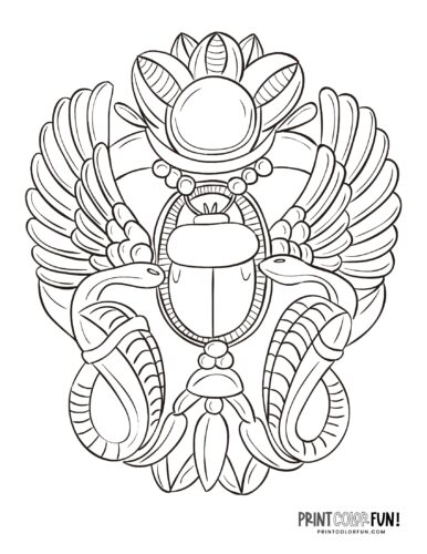 Ancient Egyptian design with a scarab beetle