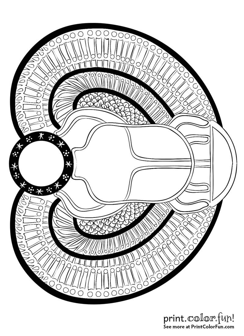 Ancient Egyptian Scarab Beetle Coloring Page Print