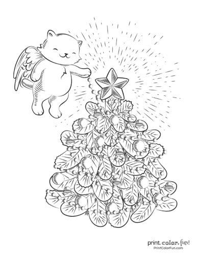 Angel bear with fancy Christmas tree