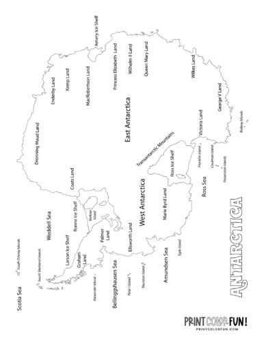 Antarctica map coloring pages and printables (3)